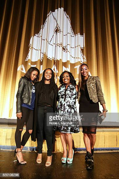 Taylour Paige Director Stella Meghie Sherri Shepherd and Erica Ash of Jean of the Joneses attends Closing Night 40th Annual Atlanta Film Festival at...