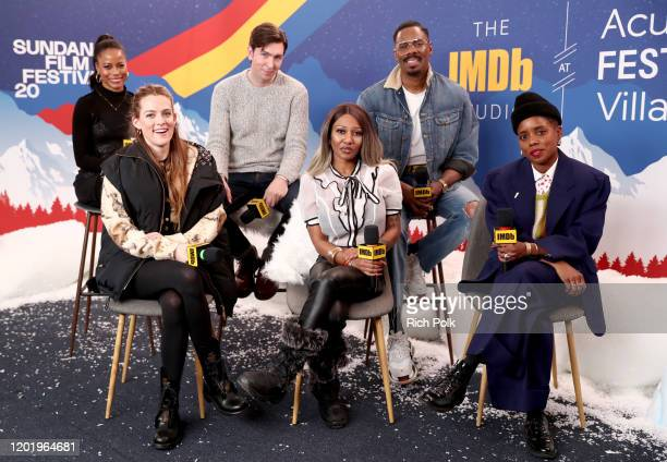 Taylour Paige Riley Keough Nicholas Braun A'Ziah King Janicza Bravo and Colman Domingo of 'Zola' attend the IMDb Studio at Acura Festival Village on...