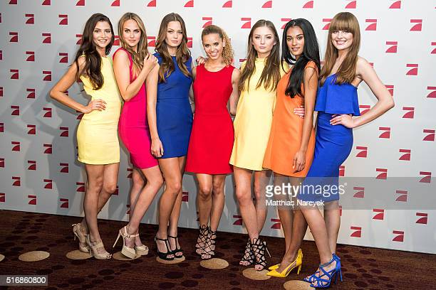 Taynara Fata Jasmin Julia Elena C Elena K and Camilla pose during a photo call for the tv show 'Germany's Next Topmodel' on March 21 2016 in Berlin...