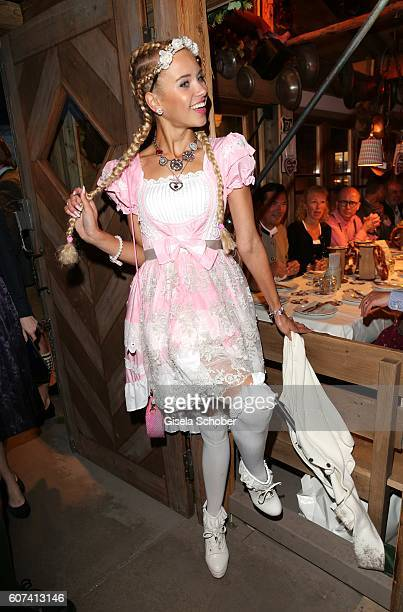 Taynara Joy Silva Wolf gntm during the opening of the oktoberfest 2016 at the 'Kaeferschaenke' beer tent at Theresienwiese on September 17 2016 in...
