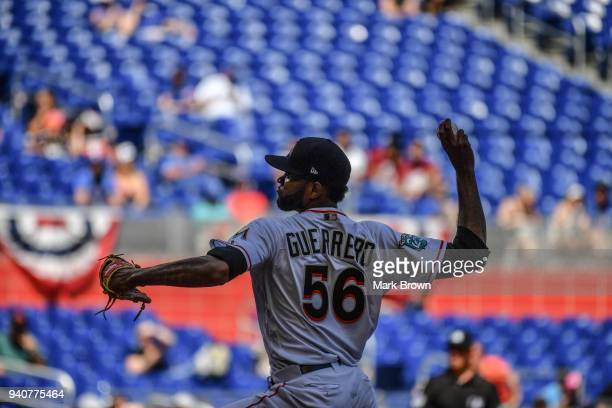 Tayron Guerrero of the Miami Marlins pitches in the eighth inning against the Chicago Cubs at Marlins Park on April 1 2018 in Miami Florida