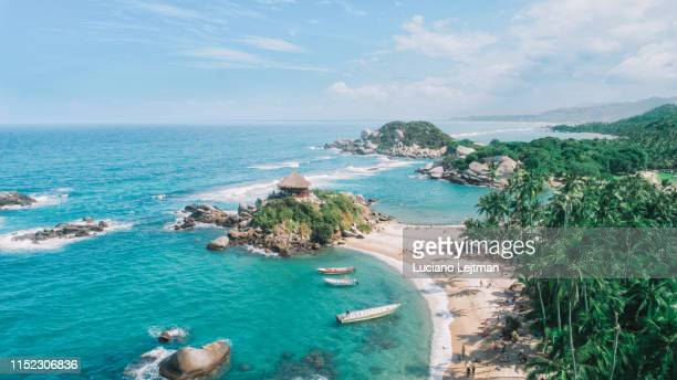tayrona national park drone view - colombia stock pictures, royalty-free photos & images