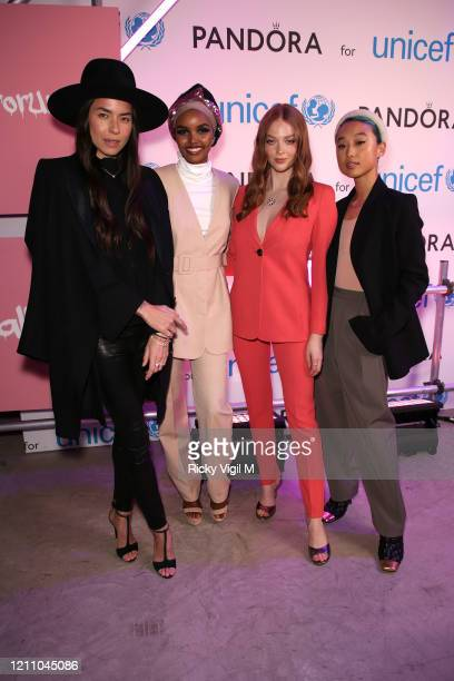Taysa van Ree Halima Aden Larsen Thompson and Margaret Zhang celebrate International Women's Day with Pandora at the Charms for Change event at...