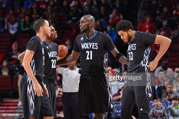 Tayshaun Prince Andrew Wiggins Kevin Garnett and KarlAnthony Towns of the Minnesota Timberwolves huddle up during the game against the Philadelphia...