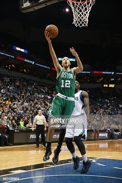 Tayshaun Prince of the Boston Celtics goes for the layup against the Minnesota Timberwolves during the game on January 28 2015 at Target Center in...
