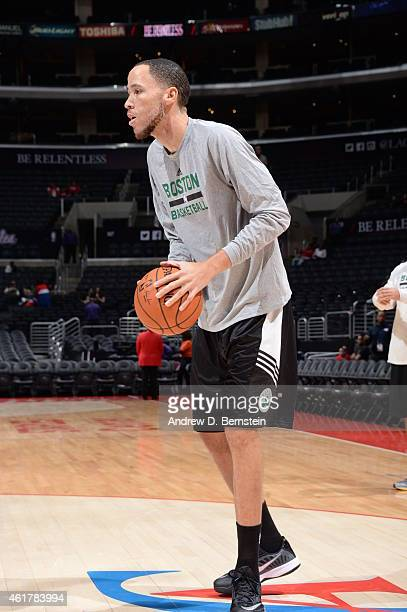 Tayshaun Prince of the Boston Celtics warms up before the game against the Los Angeles Clippers on January 19 2015 at STAPLES Center in Los Angeles...