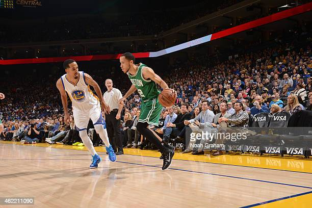 Tayshaun Prince of the Boston Celtics with the ball against the Golden State Warriors on January 25 2015 at Oracle Arena in Oakland California NOTE...