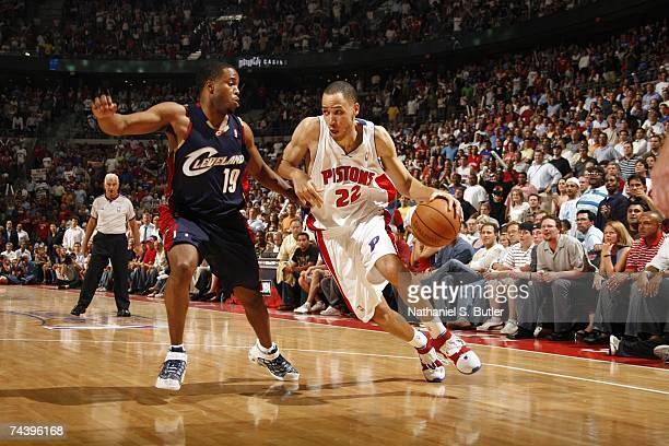 Tayshaun Prince of the Cleveland Cavaliers drives to the basket against Damon Jones of the Detroit Pistons in Game Five of the Eastern Conference...
