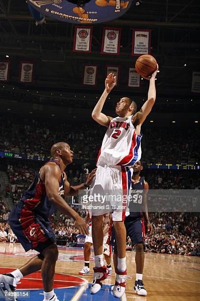 Tayshaun Prince of the Cleveland Cavaliers goes up for a shot against Eric Snow of the Detroit Pistons in Game Five of the Eastern Conference Finals...