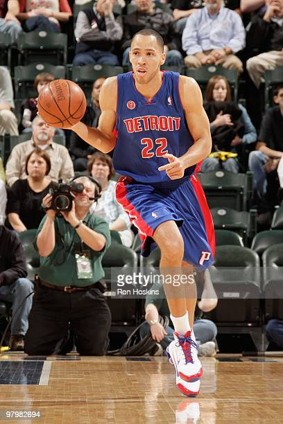 Tayshaun Prince of the Detroit Pistons brings the ball upcourt against the Indiana Pacers during the game on March 19 2010 at Conseco Fieldhouse in...