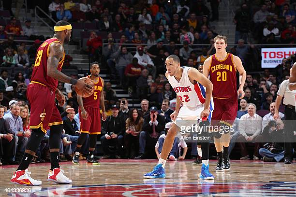 Tayshaun Prince of the Detroit Pistons defends the basket against LeBron James of the Cleveland Cavaliers during the game on February 24 2015 at The...
