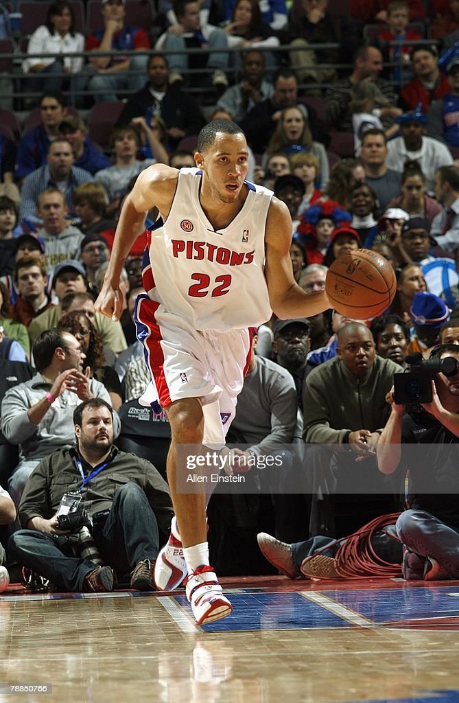 Tayshaun Prince #22 of the Detroit Pistons dribbles the ball upcourt during the game against the Atlanta Hawks at the Palace of Auburn Hills on December 14, 2007 in Auburn Hills, Michigan. The Pistons won 91-81.
