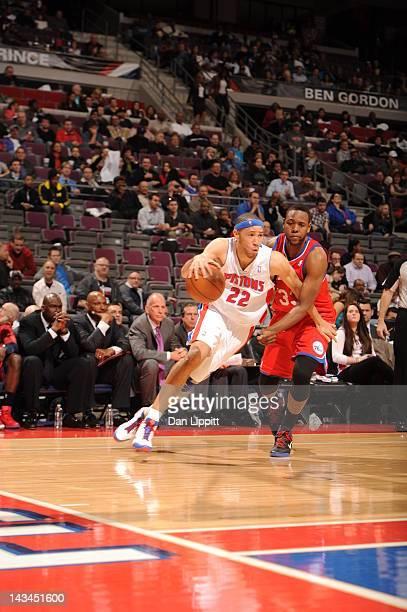 Tayshaun Prince of the Detroit Pistons drives against Craig Brackins of the Philadelphia 76ers during the game between the Detroit Pistons and the...