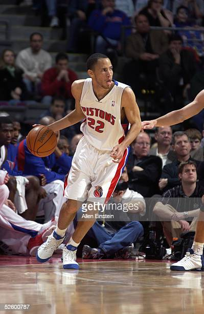 Tayshaun Prince of the Detroit Pistons drives against the Utah Jazz during the game on March 13 2005 at the Palace of Auburn Hills in Auburn Hills...