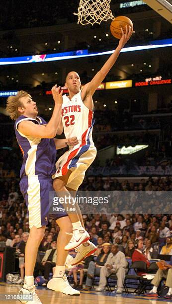 Tayshaun Prince of the Detroit Pistons drives to the basket against Chris Kaman of the Los Angeles Clippers during the NBA AllStar Rookie Challenge...