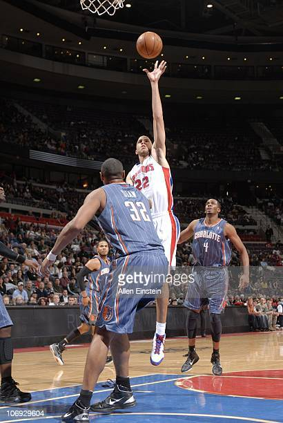 Tayshaun Prince of the Detroit Pistons drives to the basket during a game against the Charlotte Bobcats on November 5 2010 at The Palace of Auburn...