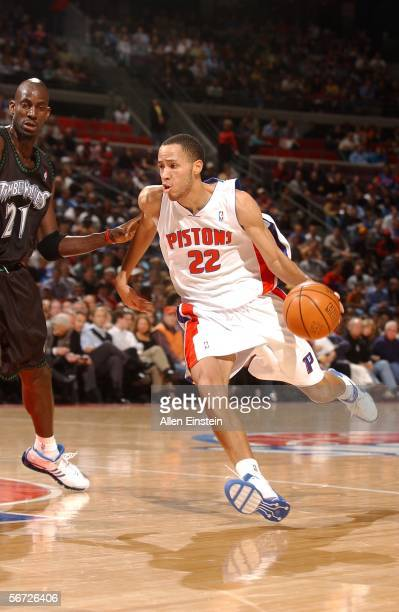 Tayshaun Prince of the Detroit Pistons drives to the net against Kevin Garnett of the Minnesota Timberwolves on February 1, 2006 at the Palace of...