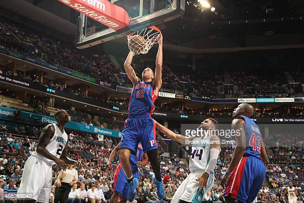 Tayshaun Prince of the Detroit Pistons dunks against the Charlotte Hornets during the game at the Time Warner Cable Arena on April 1 2015 in...