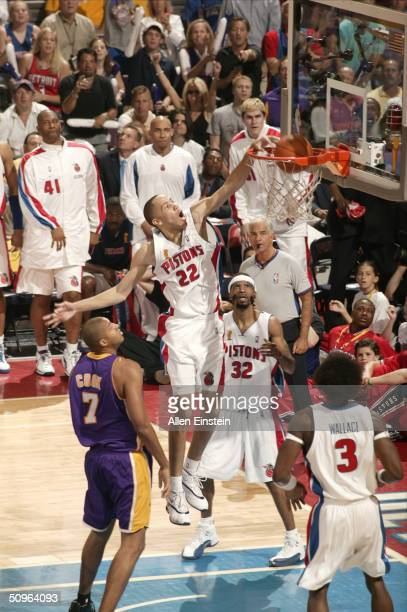 Tayshaun Prince of the Detroit Pistons dunks against the Lakers during Game Five of the 2004 NBA Finals on June 15, 2004 at the Palace of Auburn...