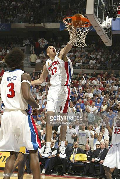 Tayshaun Prince of the Detroit Pistons dunks the ball against the Los Angeles Lakers during Game Five of the 2004 NBA Finals on June 15 2004 at the...