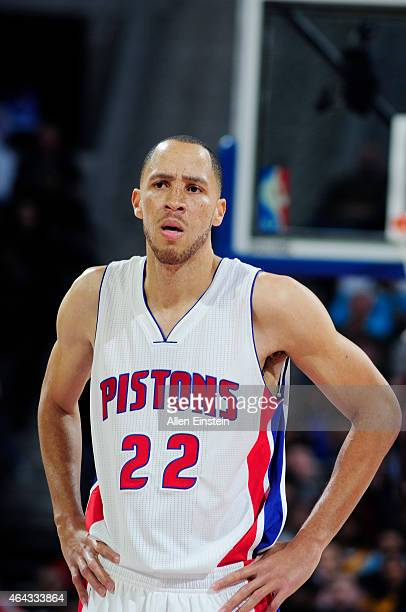 Tayshaun Prince of the Detroit Pistons during the game against the Cleveland Cavaliers on February 24 2015 at The Palace of Auburn in Hills in...