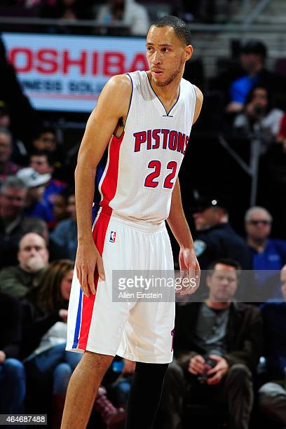 Tayshaun Prince of the Detroit Pistons during the game against the New York Knicks on February 27 2015 at The Palace of Auburn Hills in Auburn Hills...