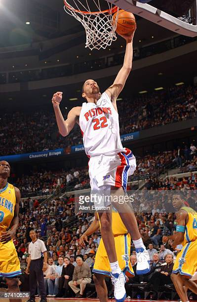 Tayshaun Prince of the Detroit Pistons goes for the dunk against the New Orleans/Oklahoma City Hornets at the Palace of Auburn Hills on April 4 2006...