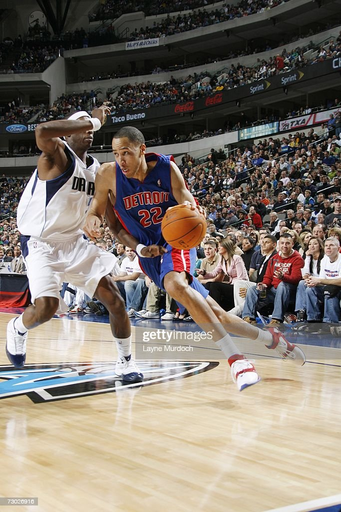 Tayshaun Prince #22 of the Detroit Pistons moves the ball against the Dallas Mavericks during an NBA game on December 7, 2006 at the American Airlines Center in Dallas, Texas.