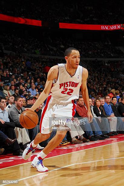 Tayshaun Prince of the Detroit Pistons moves the ball against the Phoenix Suns during the game at the Palace of Auburn Hills on February 8, 2009 in...