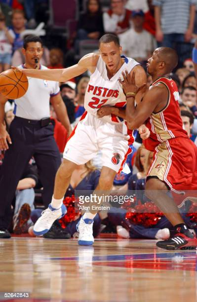 Tayshaun Prince of the Detroit Pistons posts against Eric Snow of the Cleveland Cavaliers on April 17 2005 at the Palace of Auburn Hills in Auburn...