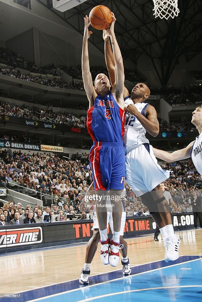 Tayshaun Prince #22 of the Detroit Pistons rebounds against the Dallas Mavericks during an NBA game on December 7, 2006 at the American Airlines Center in Dallas, Texas.