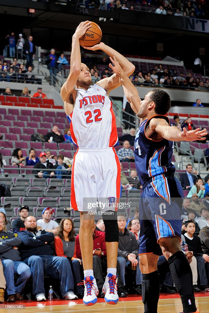Tayshaun Prince #22 of the Detroit Pistons shoots against Jeffery Taylor #44 of the Charlotte Bobcats on January 6, 2013 at The Palace of Auburn Hills in Auburn Hills, Michigan.