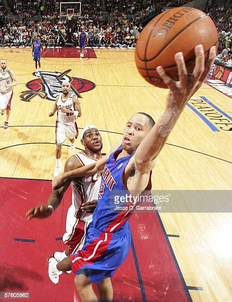 Tayshaun Prince of the Detroit Pistons shoots against LeBron James of the Cleveland Cavaliers in game three of the Eastern Conference Semifinals...