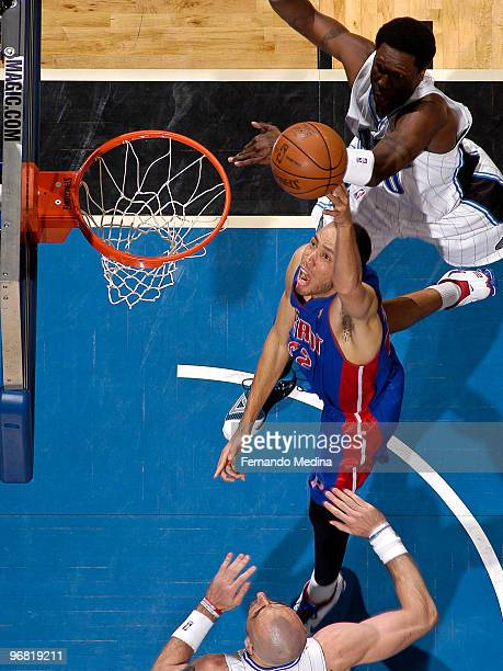 Tayshaun Prince of the Detroit Pistons shoots against the Orlando Magic during the game on February 17 2010 at Amway Arena in Orlando Florida NOTE TO...