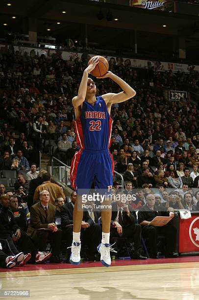Tayshaun Prince of the Detroit Pistons shoots against the Toronto Raptors during the game on March 15 2006 at the Air Canada Centre in Toronto Canada...
