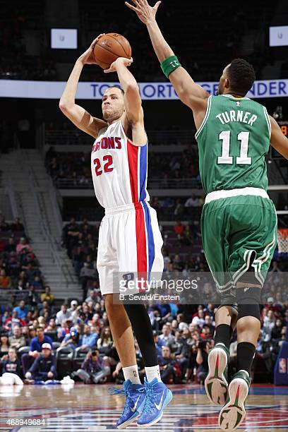 Tayshaun Prince of the Detroit Pistons shoots the ball against the Boston Celtics on April 8 2015 at The Palace of Auburn Hills in Auburn Hills...