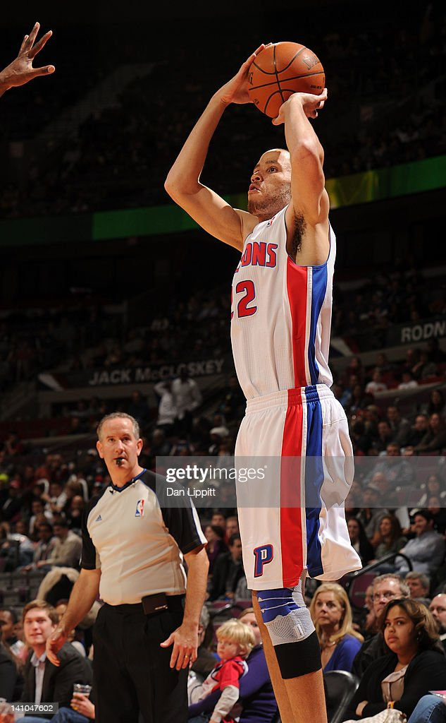 Tayshaun Prince #22 of the Detroit Pistons takes a jump shot during the game against the Atlanta Hawks on March 9, 2012 at The Palace of Auburn Hills in Auburn Hills, Michigan.