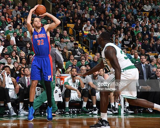 Tayshaun Prince of the Detroit Pistons takes a shot against the Boston Celtics on March 22 2015 at the TD Garden in Boston Massachusetts NOTE TO USER...