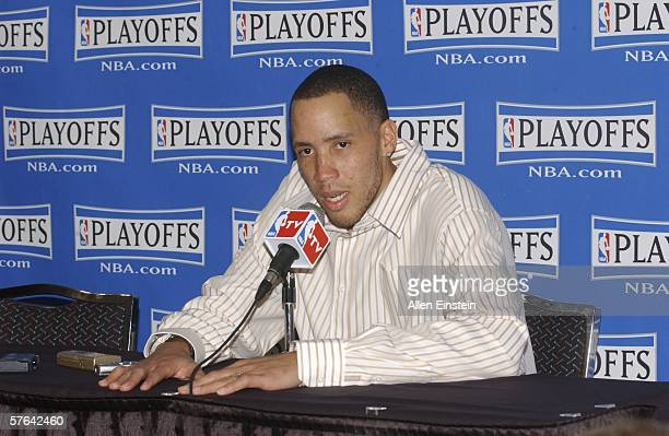 Tayshaun Prince of the Detroit Pistons talks in a post game press conference after the Pistons lost game five of the Eastern Conference Semifinals...