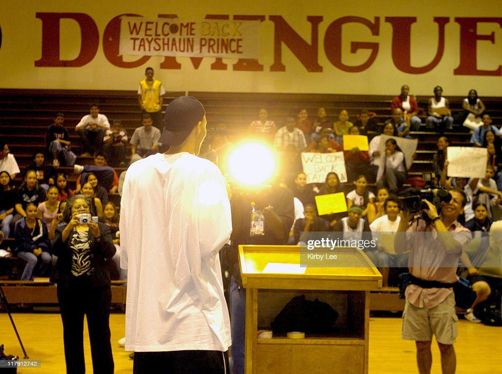 Tayshaun Prince of the Detroit Pistons Visits Alma Mater Dominguez High School