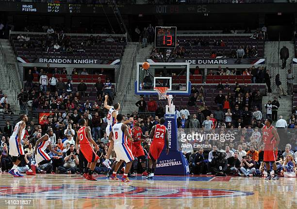 Tayshaun Prince of the Detroit Pistons watches his game winning shot during the fourth quarter against the Atlanta Hawks on March 9 2012 at The...