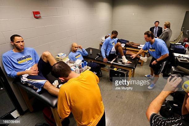 Tayshaun Prince of the Memphis Grizzlies gets taped up in the locker room before playing the San Antonio Spurs in Game Two of the Western Conference...