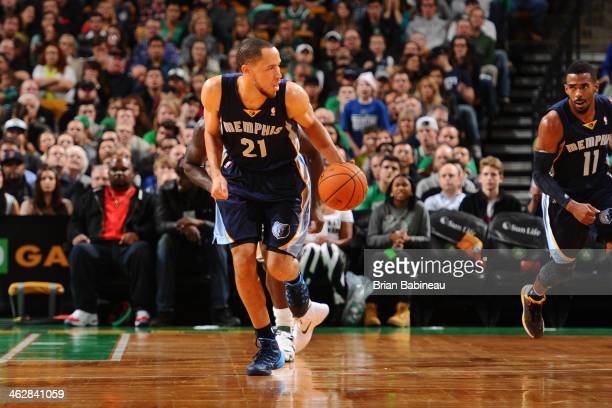 Tayshaun Prince of the Memphis Grizzlies moves the ball upcourt against the Boston Celtics on November 27 2013 at the TD Garden in Boston...