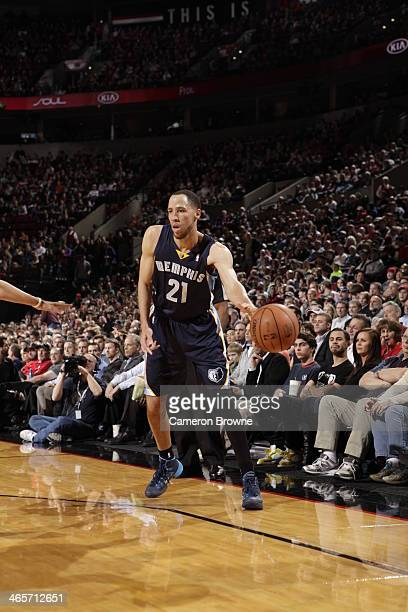 Tayshaun Prince of the Memphis Grizzlies passes the ball against the Portland Trailblazers at the Moda Center Arena in Portland Oregon NOTE TO USER...