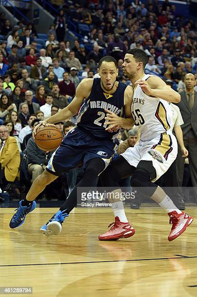Tayshaun Prince of the Memphis Grizzlies works against Austin Rivers of the New Orleans Pelicans during a game at the Smoothie King Center on January...