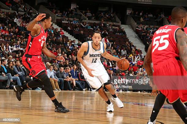 Tayshaun Prince of the Minnesota Timberwolves drives to the basket against the Toronto Raptors at Canadian Tire Centre on October 14 2015 in Ottawa...