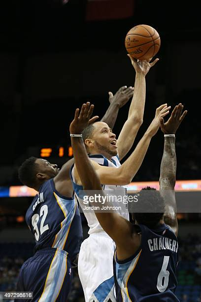 Tayshaun Prince of the Minnesota Timberwolves goes for the layup against the Memphis Grizzlies during the game on November 15 2015 at Target Center...