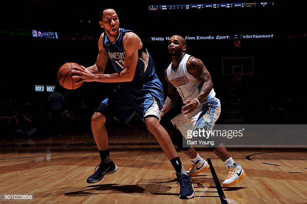 Tayshaun Prince of the Minnesota Timberwolves handles the ball against the Denver Nuggets on December 11 2015 at the Pepsi Center in Denver Colorado...