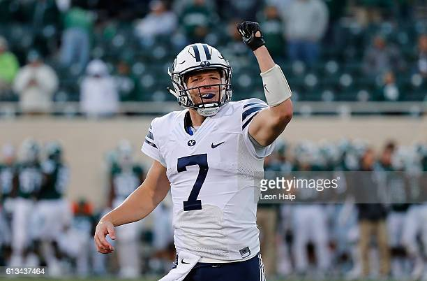 Taysom Hill of the Brigham Young Cougars celebrates a win over the Michigan State Spartans at Spartan Stadium on October 8 2016 in East Lansing...
