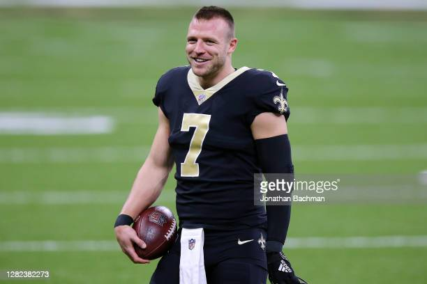Taysom Hill of the New Orleans Saints reacts against the Carolina Panthers during a game at the Mercedes-Benz Superdome on October 25, 2020 in New...